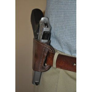 Brown Leather Belt slide Gun Holster for Taurus 24/7, PT