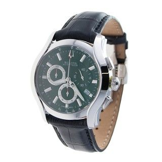 Bulova Accutron Mens Stratford Collection Leather Band Chrono Watch