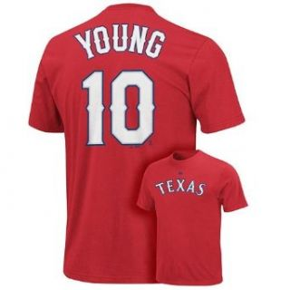 Texas Rangers Michael Young Name and Number Red T Shirt