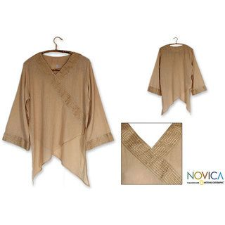 Womens China Paths in Light Brown Blouse (Thailand)