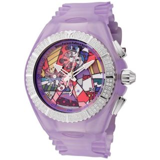 TechnoMarine Womens Cruise Britto Purple Silicon Chrono Diamond Watch