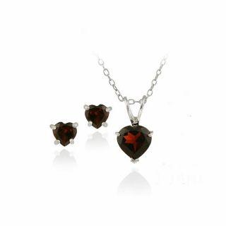 Glitzy Rocks Sterling Silver Heart Garnet Solitaire Earring and