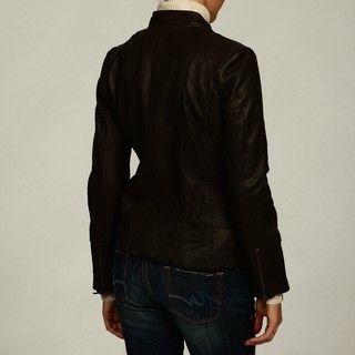Jones New York Womens Scuba Zip front Leather Jacket FINAL SALE