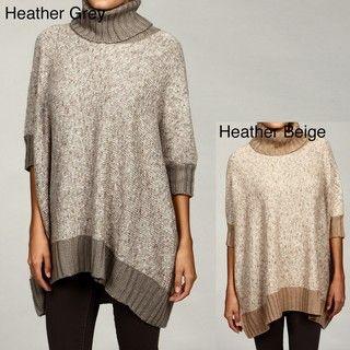 Romeo & Juliet Womens Turtleneck Elbow Sleeve Poncho Sweater