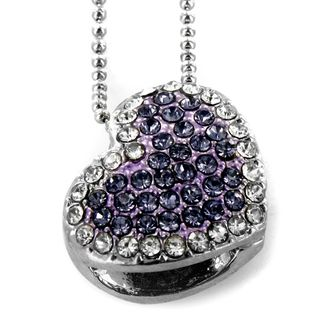 Silvertone Purple Heart Crystal Necklace