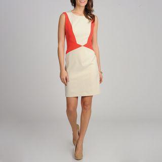 Sharagano Womens Colorblocked Sleeveless Dress