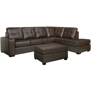 Drake Chocolate Brown Italian Leather Sectional Sofa and Ottoman