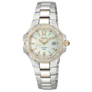Seiko Womens Dress Two tone Steel Quartz Diamond Watch