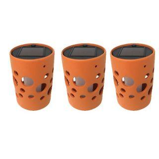 Orange Cylinder Ceramic Solar Light Pot with Bubble Cutouts (Set of 3