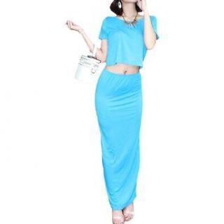 Allegra K Women Short Sleeves Scoop Neck Tie Back Backless