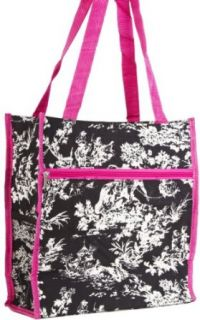 Pink Trim Black Toile Travel Tote Bag with Coin Purse