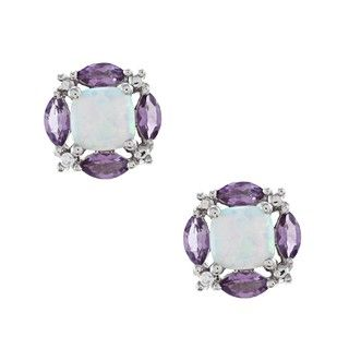 Sterling Silver Created Opal, Amethyst and Cubic Zirconia Earrings
