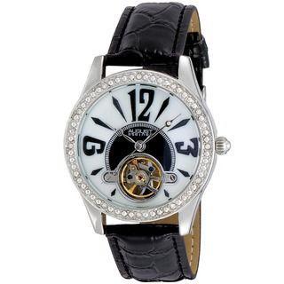 August Steiner Womens Crystal Skeleton Strap Watch