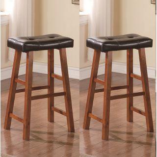 29 inch Walnut Brown Leather Saddle Bar Stools (Set of 2)