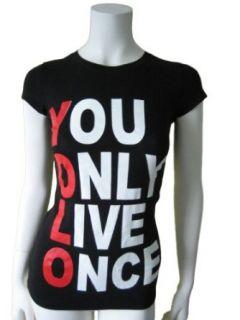 YOLO Womens T Shirt (X Large)   Black Clothing