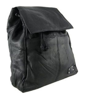 Black Lambskin Leather Drawstring Backpack Purse Shoes