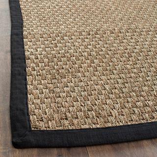 Hand woven Sisal Natural/ Black Seagrass Rug (4 x 6)