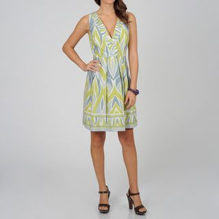 CeCes New York Womens Grey Geometric Print Sleeveless Dress