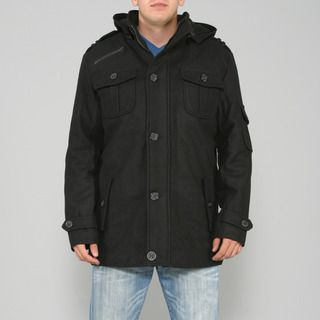 Ron Chereskin Mens Black Wool blend Hooded Coat