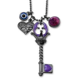Dark Metal Multi Charm Purple Key Necklace