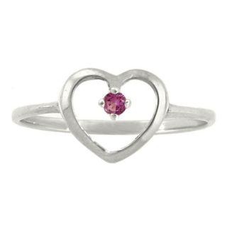 10k Gold June Birthstone Rhodolite Petite Designer Heart Ring
