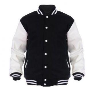Angel Cola Black & White Retro Varsity Wool & Synthetic