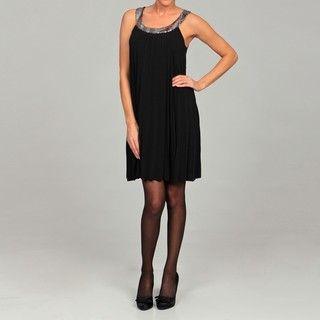 AA Studios Womens Black Sequin Pleated Dress
