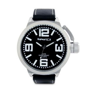 Nemesis Mens Black Oversized Leather Watch