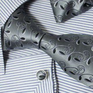 Black Grey Paisleys Pattern Jacquard Woven Silk Tie Hanky
