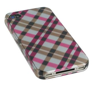 rooCASE Apple iPhone 4 Pink Plaid Case