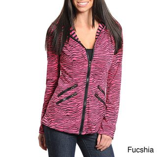 Stanzino Womens Animal Print Zip up Hooded Jacket