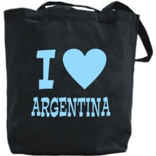 Canvas Tote Bag Black  I Love Argentina  Country