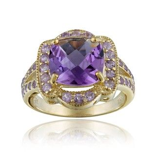 Glitzy Rocks 18k Gold over Sterling Silver Genuine Amethyst Ring