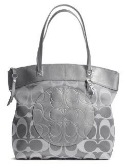 Coach Laura Signature Zip Large Tote Bag 18335 Grey Silver Shoes