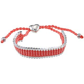 La Preciosa Silverplated Heart and Beads Friendship Bracelet