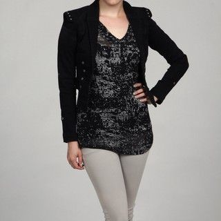 Kensie Womens Band Black Studded Jacket