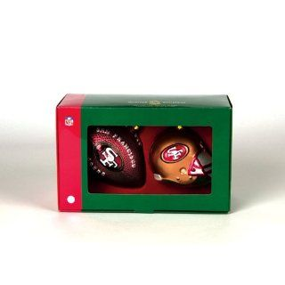 Set of 2 NFL San Francisco 49ers Ball and Helmet Glass