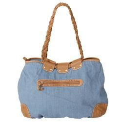 Adi Designs Womens Leather Accent Denim Tote Bag