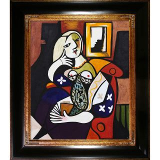 Pablo Picasso Woman with a Book Hand painted Framed Art Print