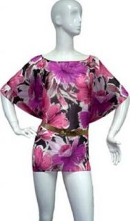 Sheer Pink & Black Floral Print SwimSuit Cover Up Dress