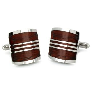 Stainless Steel Red Wood Inlay Art Deco Cuff Links