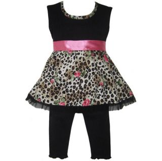 Ann Loren Girls Baby Doll Style Leopard Rose Capri Set