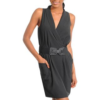Stanzino Womens Black Belted Mock Wrap Dress