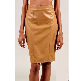 Tabeez Womens Tan Leather Pencil Skirt
