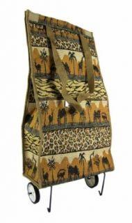 Safari Print Tapestry Wheeled Shopping Bag Tote Clothing