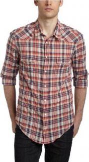 HUGO BOSS Mens Eda Long Sleeve Shirt,Red,Large Clothing