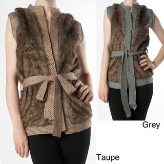 Tabeez Womens Faux Fur/ Knit Vest