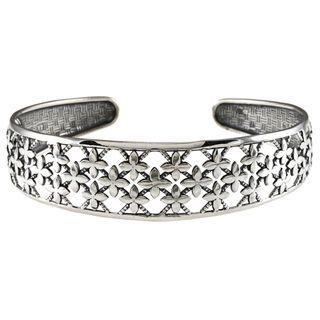LucyNatalie Sterling Silver Flower Flexible Cuff Bracelet
