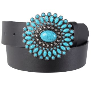 Journee Collection Womens Turquoise Stone Buckle Leather Belt
