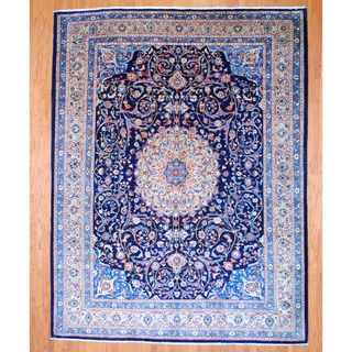 Persian Hand knotted Mashad Navy/ Beige Wool Rug (910 x 129